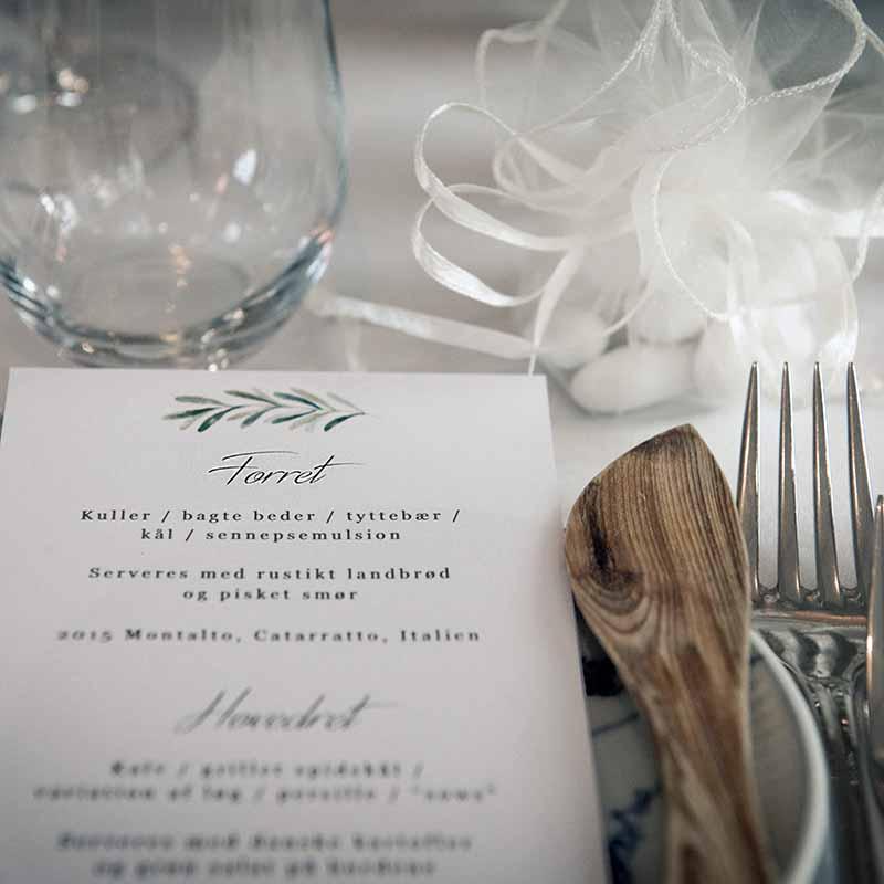 menu til bryllup i Århus